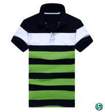 2015 OEM custom 100% cotton men striped polo t-shirt clothing with high quality manufacture in China