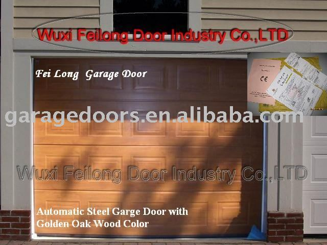 Golden Oak Wood Color Steel Garage Door --- Remote Control Sectional garage door