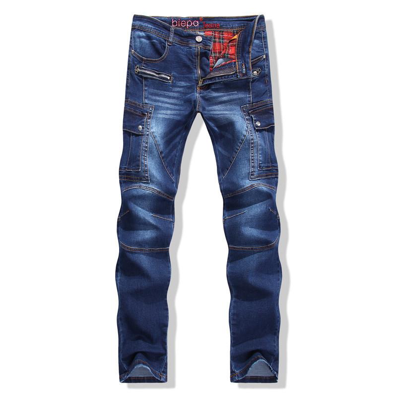 16956c78b2f7a Get Quotations · New stylish designer fashion high quality mens motorcycle  biker jeans slim fit patchwork zipper jeans denim