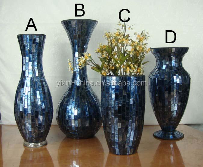 2016 Wholesale Vase Sets Elegant Tall Purple Mosaic Glass Vases