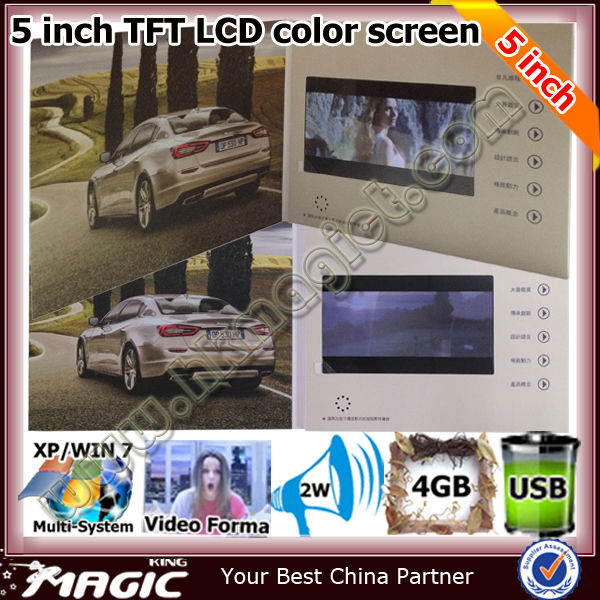 Top sell 5 inch lcd video business card