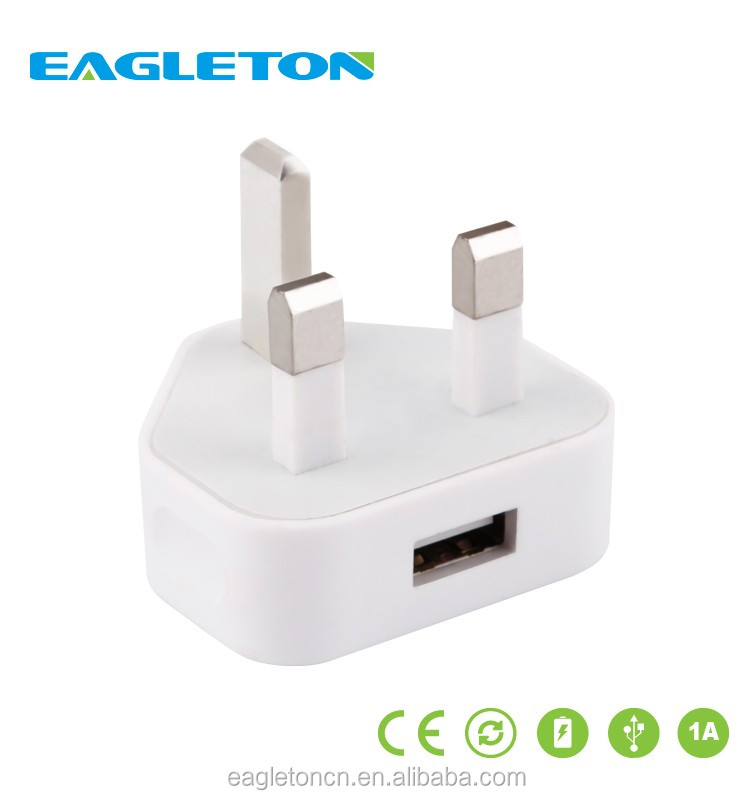 Wholesale usb mains charger portable usb wall UK plug charger ,mobile phone 5V 2A fast charger