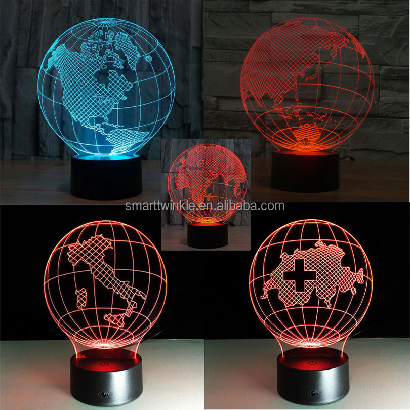 STL 3D LED Lamp - Earth shape Art Sculpture Lights in Colors 3D Optical Illusion American globe 3D led night lamp with touch but