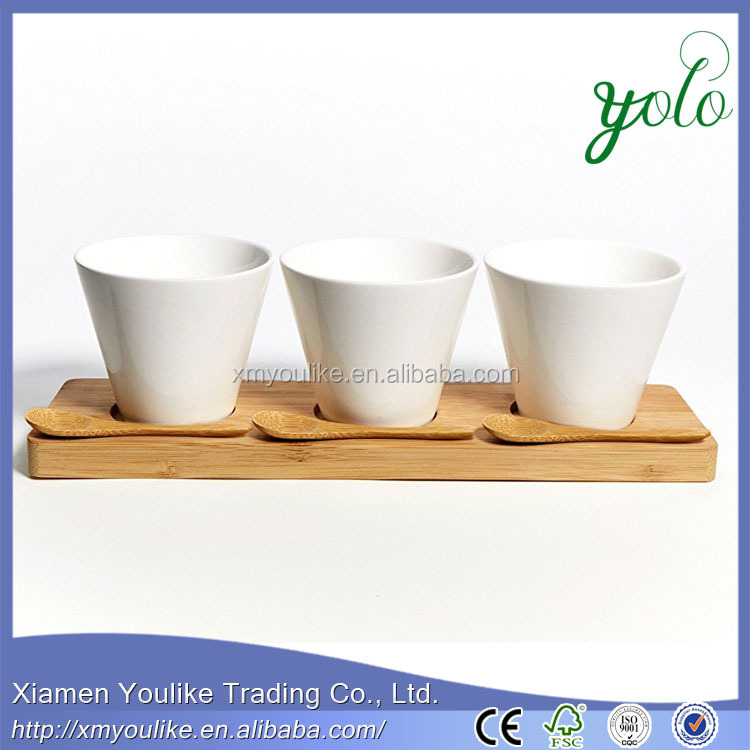 Modern White Ceramic Tea coffee Cups and Spoons set on Bamboo Serving Tray