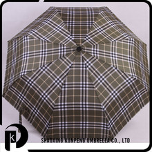 Business Men Grid cheap folding umbrellas red lace and plaid 3 folded umbrella