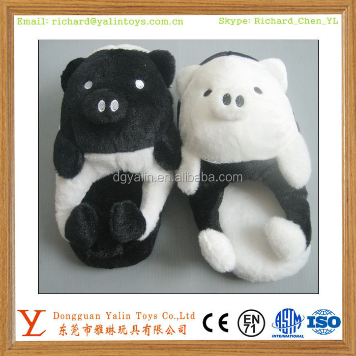 top quality new stuffed animal head pig slipper for kids & women & man
