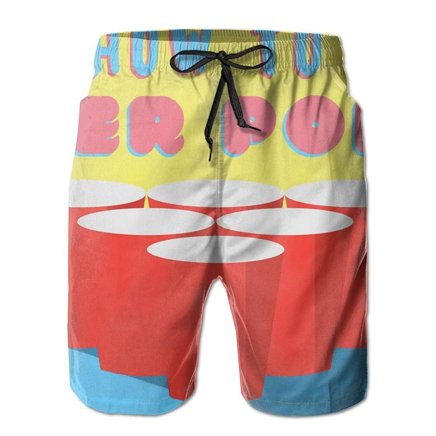 b44c87dabb Get Quotations · Cjhxqt Beer Pong Mens Boardshorts Swim Trunks Quick Dry  Gym Shorts Mens Swim Trunks