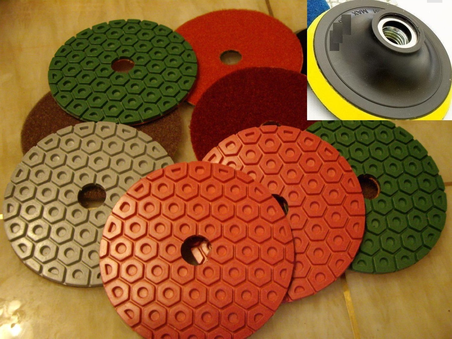 "4"" Diamond Polishing Pad Honeycomb Durable Type 9+1 Pieces for Granite Marble concrete travertine glass terrazzo FREE Priority shipping"