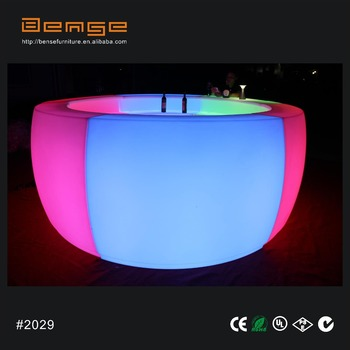 Outdoor Round Bar Mobile Table Led