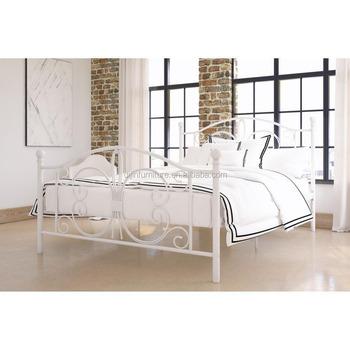 Metal Platform Bed Scrollwork Details Headboard/footrest Off-white ...