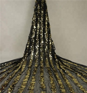 Best selling gold sequin big flower stripe sequin fabric S18016