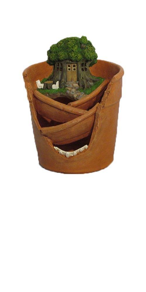 "Provence PF2883 Fairy Garden Miniature Plant Polyresin Pot with Solar Light, 7"" x 7.5"" x 9"", Clay"