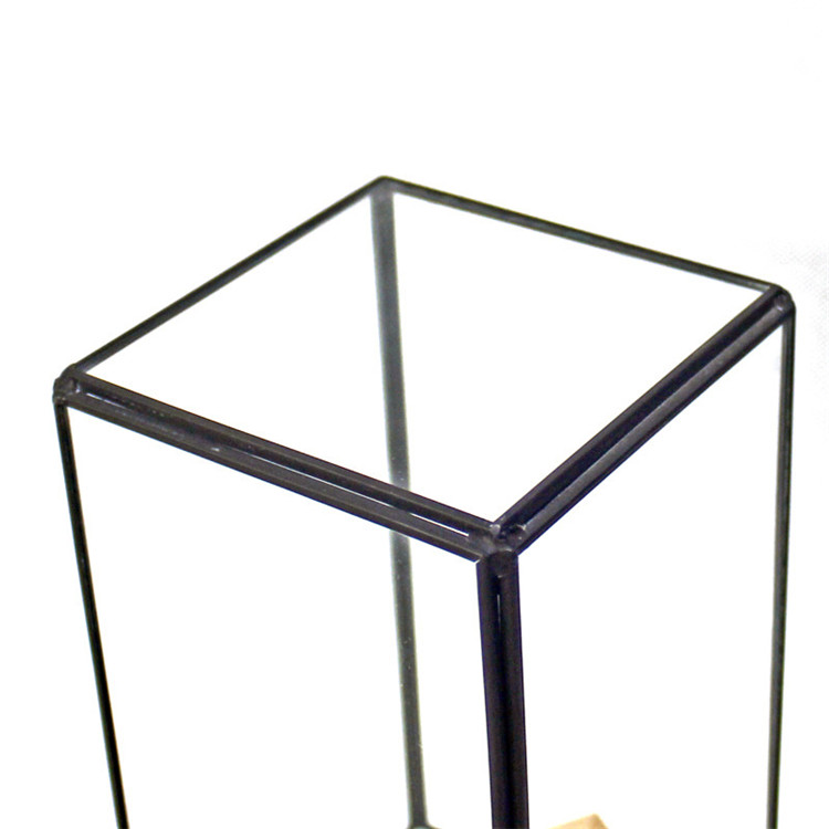 Miniature Glass Display Jar Terrarium Container Transparent With Alloy Base