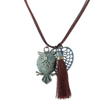 Handmade tassel necklace Patina green distressed alloy heart and alloy owl necklace wholesale