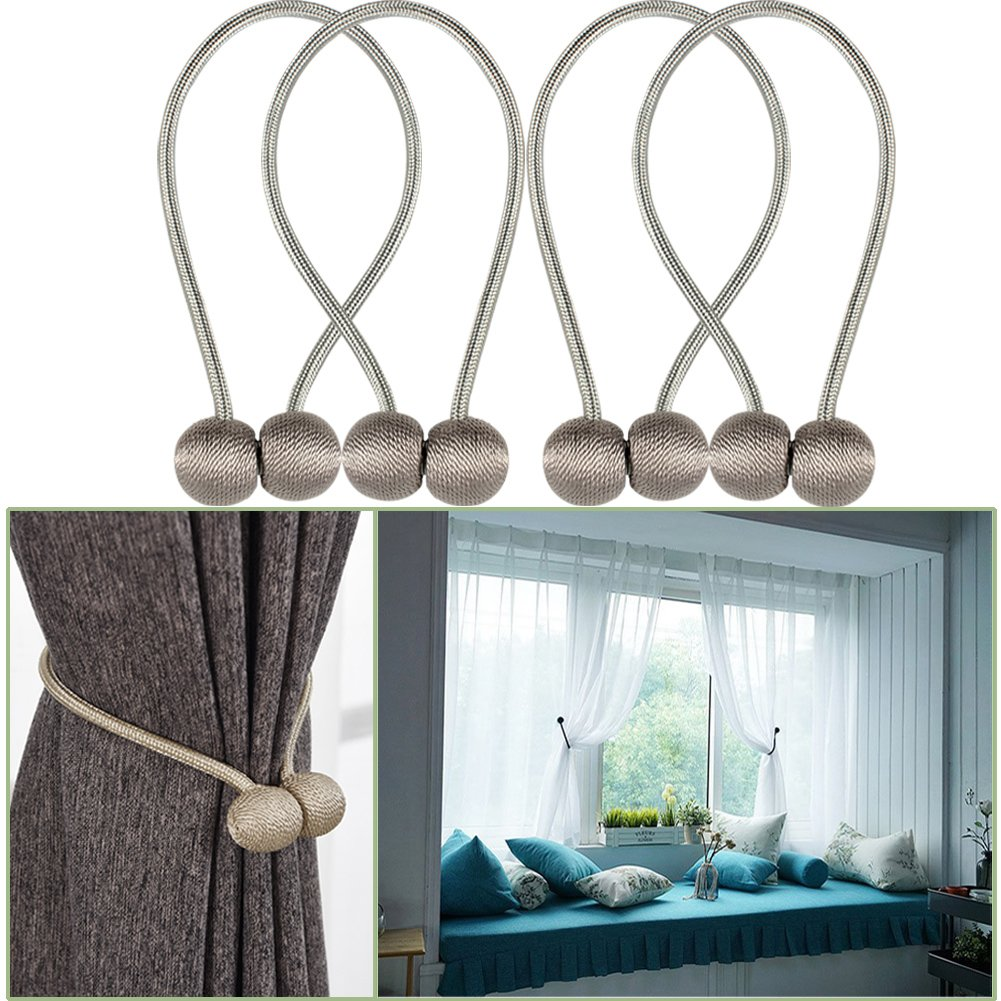 YIDIE 4 Pieces Curtain Tiebacks Classic European Window Holdbacks Home Office Decorative Drapes Holders with Strong Magnetic, Gray/2 Pair