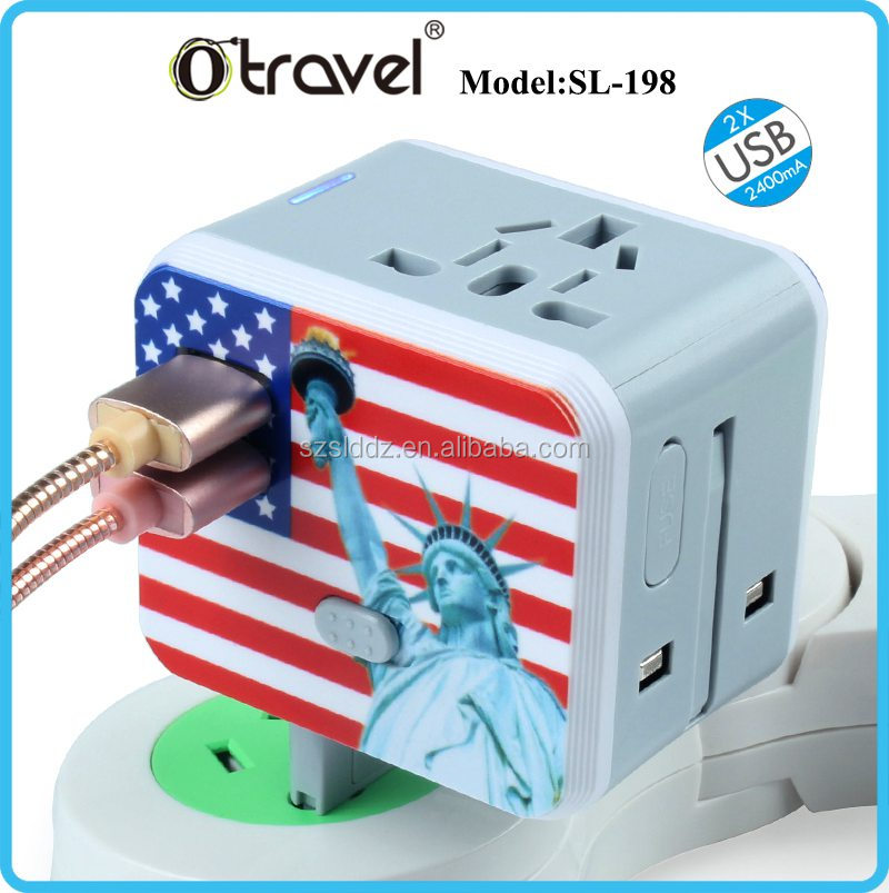 CE, ROHS travel socket universal plug adapter usb with fuse 2017 Christmas gift <strong>promotion</strong>