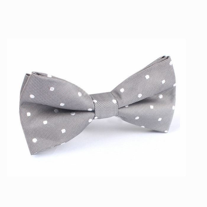 custom cheap white dot polyester man bowties for wholesale