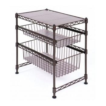 Horizontal sliding wire basket drawers