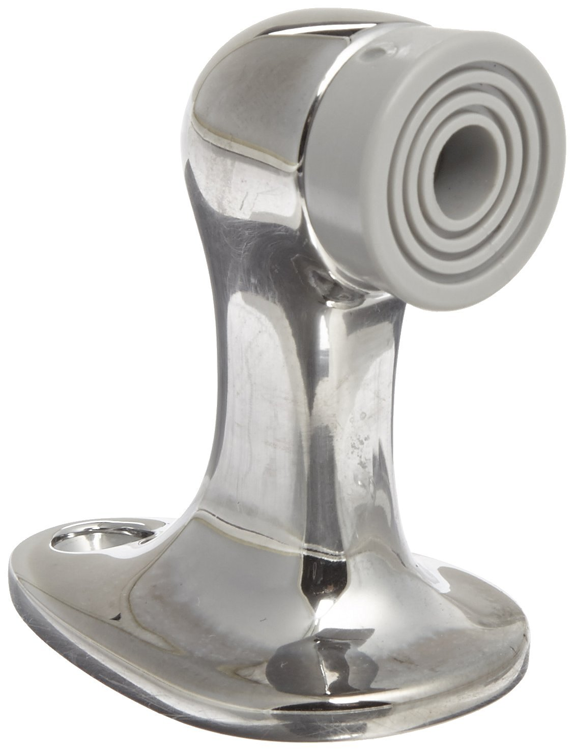 "Rockwood 483.26 Brass Door Stop, #12 x 1-1/4"" FH WS Fastener with Plastic Anchor, 1-5/8"" Base Width x 2-5/8"" Base Length, 2-3/4"" Height, Polished Chrome Plated Finish"