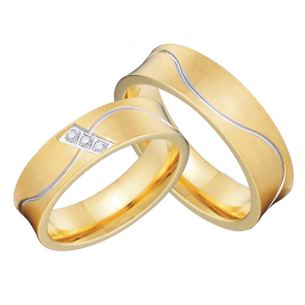 classic european western 18k gold plated wedding alliances of marriage ring set  for couples lovers alliance anel