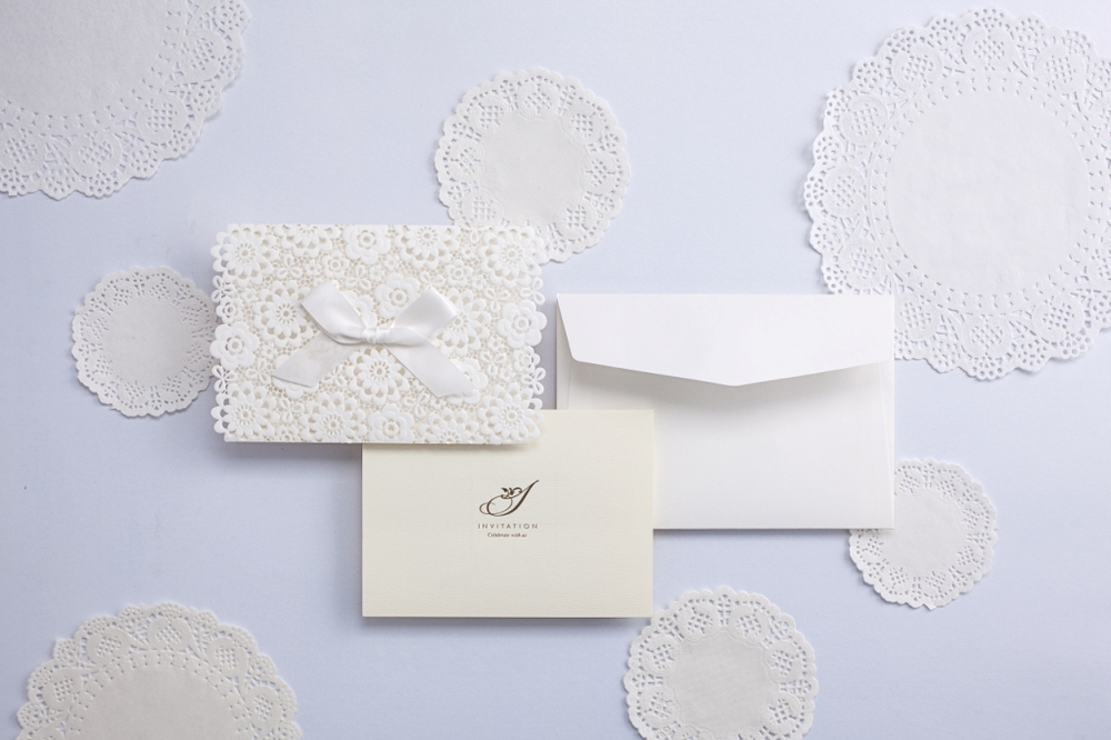 Lace muslim Wedding Invitations Elegant Embossed White Ribbon ...