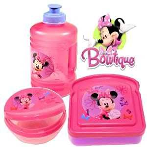 """PINK""...!!!3-Pieces""LUNCH SET""...!!!Minnie Mouse""Bow tique""(1-Sandwich Box..1-Flip Top Snack Container..1-""(Sixteen oz."")Water Jug or 1-(""Seventeen oz"")Pull Top Bottle..."