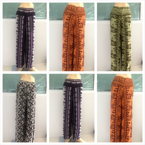 Womens Thai Silk Wrap Pants/Sarong Palazzo Harem Yoga Hippie Wide Leg Trousers