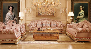 Le Castle Upholstery Sofa Set Luxury Solid Wood Carved Chesterfield For Living Room