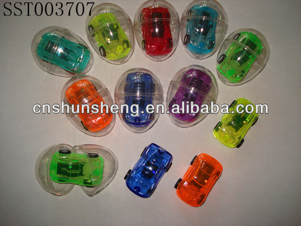 Transparent Egg With Pull Back Cars Cartoon Small Toy