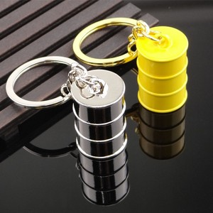 Mini oil drum silver and gold plated men's keychain
