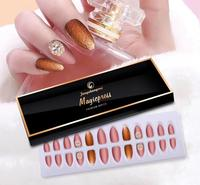 acrylic nail tips with designs nail tips manufacturer 54# Stiletto natural Shiny artificial fingernai press on nails