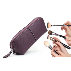 Wholesale travel genuine leather small cosmetic makeup bag