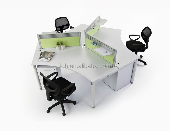 New model 3 person desk 120 degree office workstations cubicle for sale (FOH-JT22A)