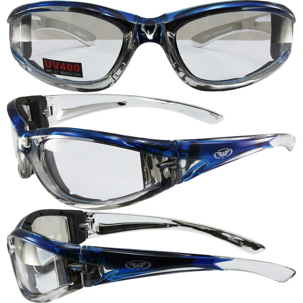 db053420db Global Vision Flashpoint Padded Motorcycle Sunglasses Chrome and Blue  Crystal Frames Clear Lenses
