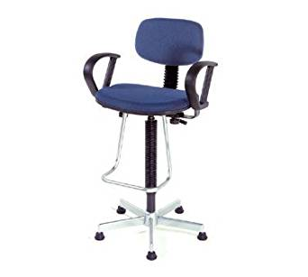 Nexel Office Stool With Teardrop Footrest And Loop Arms, Blue Fabric
