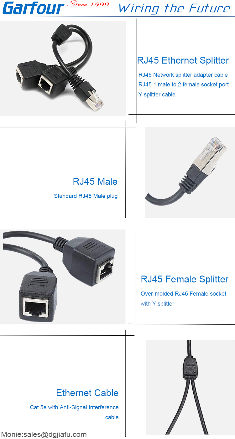 Cat 5 network cable ethernet splitter rj45 male to female connector extension cable