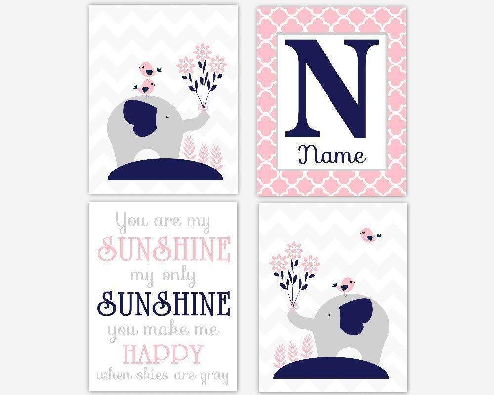 Baby Girl Nursery Art Pink Navy Blue Gray Grey Elephants Personalized Name Prints You are My Sunshine Baby Nursery Decor SET OF 4 UNFRAMED PRINTS