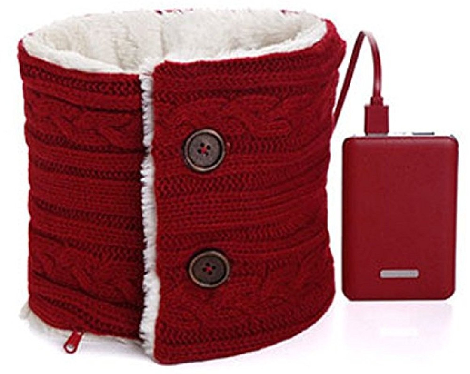 985b2d11f633e Get Quotations · Heated Scarf RED Battery Powered Rechargeable Fashion Neck  Warmer Warm Pad Scarves