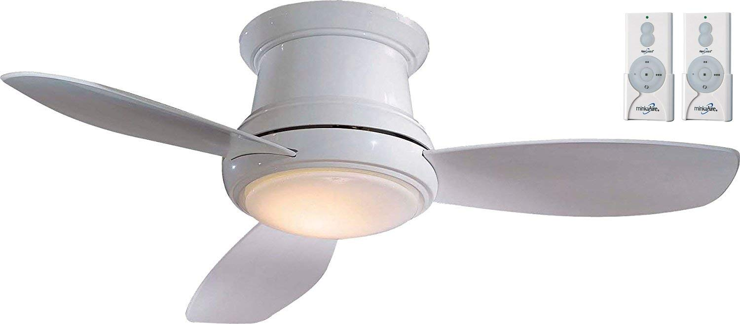 """Minka-Aire F518L-WH, Concept II LED White Flush Mount 44"""" Ceiling Fan with Light and 2-Remote Control Bundle"""