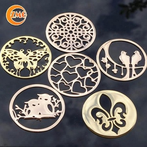 shiny gold round laser cut custom metal logo plate for handbags