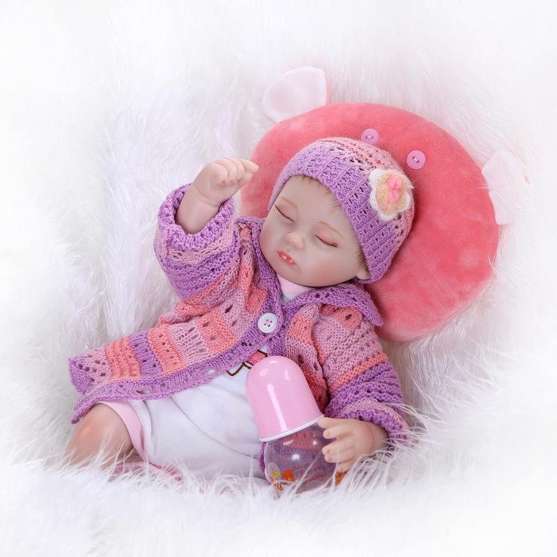 New production 40cm Simulation silicone reborn baby dolls toy girls new yers birthday gifts close eyes