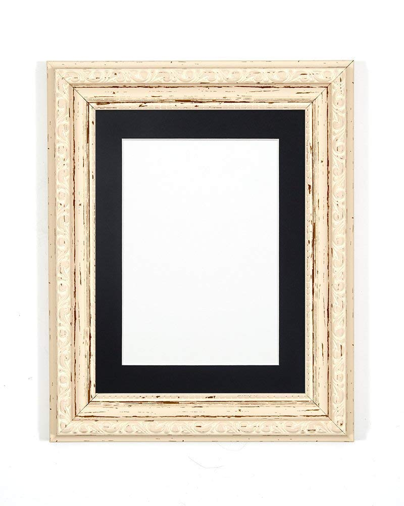 "FRAME Company Distressed White Ornate Shabby Chic Picture/Photo/Poster With Black Mount With A High Clarity Styrene Shatterproof Perspex Sheet 14""X11"" For 12"" X8 Picture"