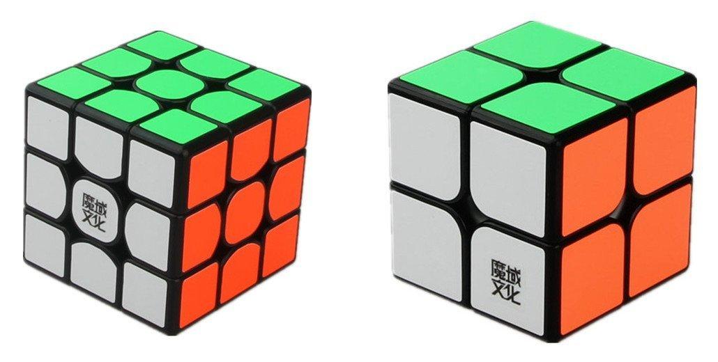 CuberSpeed Speedcubing Advanced Bundle Moyu Weipo 2x2 & Moyu Weilong GTS 3X3 Magic cube Black Puzzle