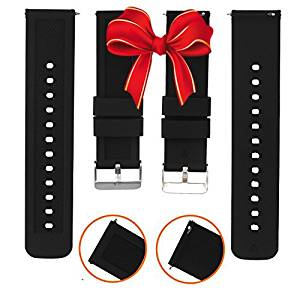 Quick Release Watch Band, Boonix Easy-Change Watch Strap, 22 mm Replacement Bands for Men & Women - Easy to Use - No Tools Required - Swap in Seconds - Premium Rubber Wristband [22mm Black Silicone]