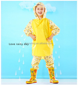 Fashionable and lovely plastic one piece rain suits girls coat suit
