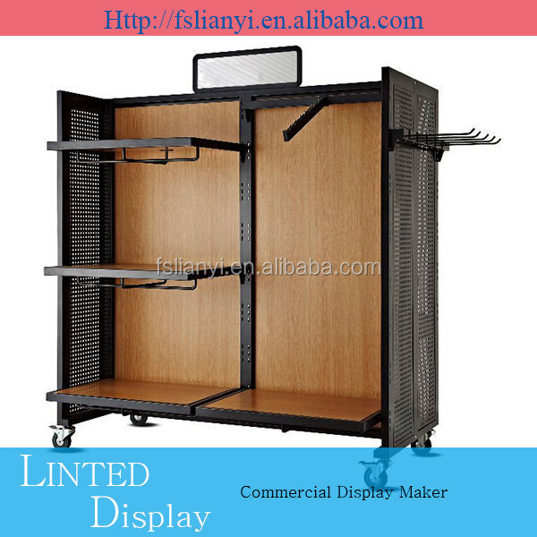 fashionable guangzhou clothing display rack jewllery with glass
