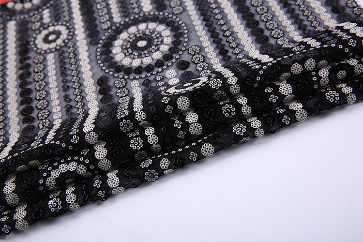 Good quality black poly mesh india all over sequins embroidered net fabric
