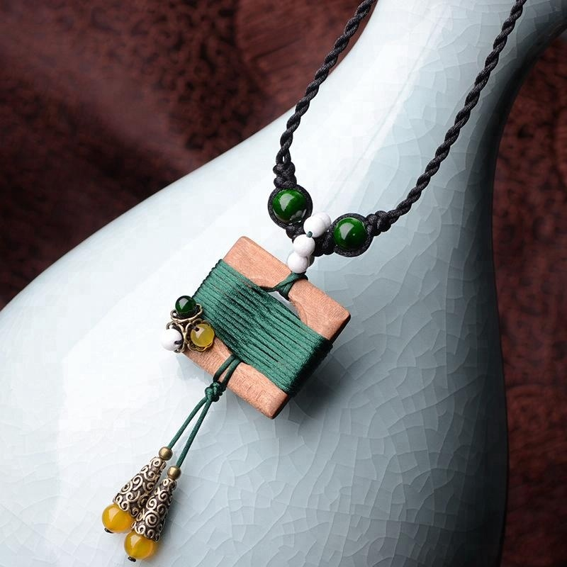 handmade braided Square Bohemian jewelry Chinese wind women ethnic vintage sweater necklace