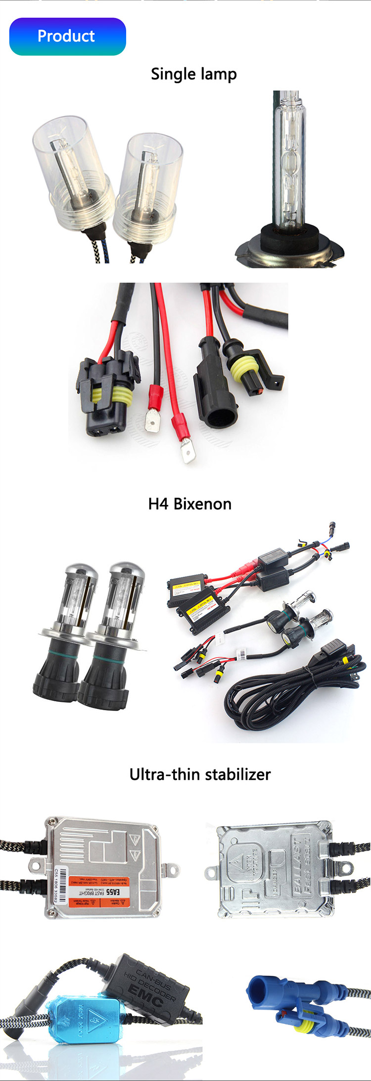 D1 D2 D3 D4 H1 H3 H4 H7 12V 35W Led Xenon Bulb Headlight Ballast Kit