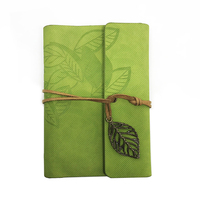 Custom Vintage Leaf Decor Faux Cow Leather Spiral Page Notebook Creative Pocket Travel Journal Book